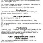CV snapshot. headings: education, employment, teaching expereince, publications, public engagement and science communication, grants